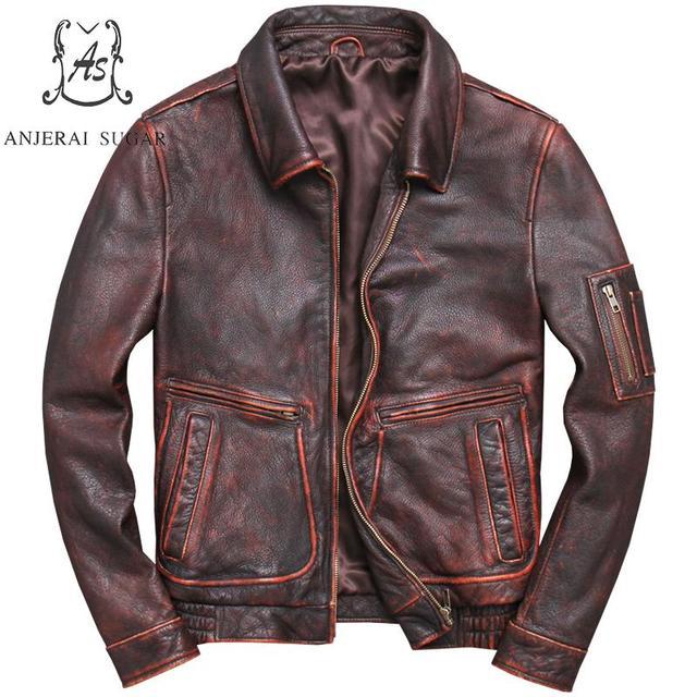Plus Size Retro-made cow genuine leather jacket men Vintage black reddish brown Moto big pocket Motorcycle coat bomber jackets