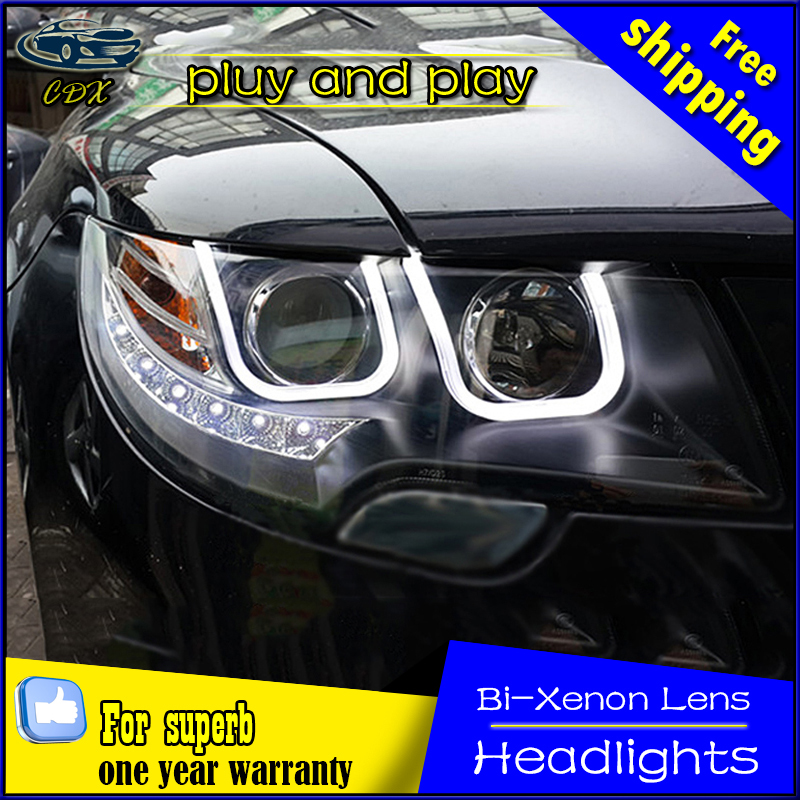 Car Styling Head Lamp for Skoda Superb Headlights 2009-2014 Superb LED Headlight U angel eyes DRL Bi-Xenon HID Accessories microsoft official academic course microsoft® office project 2002 and 2003