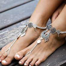 Tomtosh 2017 New Bohemian Tassel Silver Hollow Flower Chain Anklets Beach Barefoot Sandals Foot Jewelry Anklets
