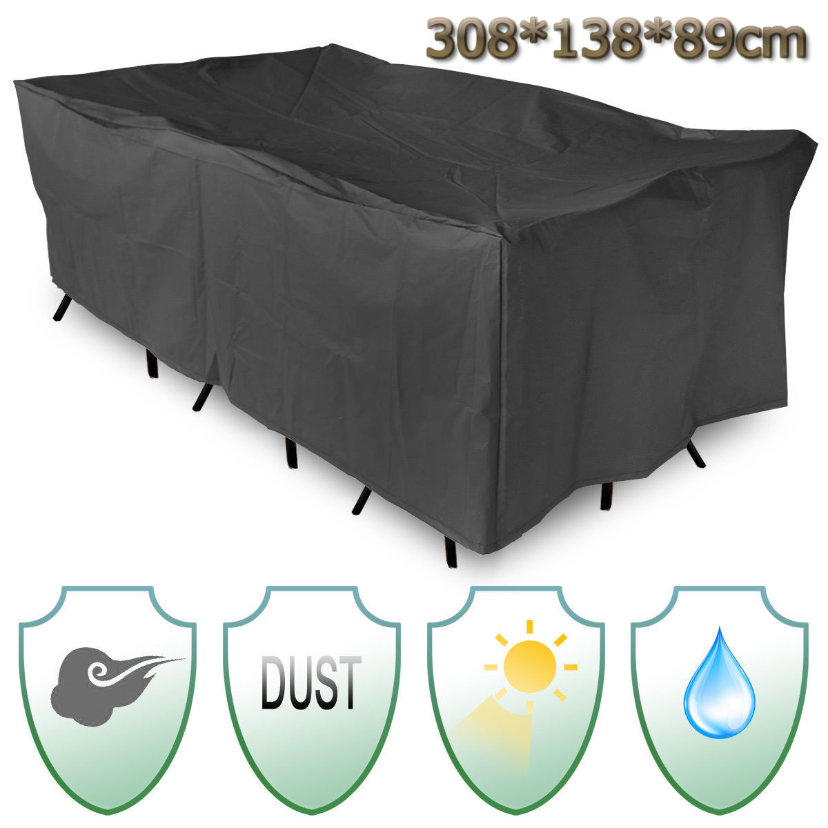 Waterproof Patio Garden Furniture Cover 308x138cm Chair Table Cover Rain Dust UV Resistant Table Cloth Home Textiles SuppliesWaterproof Patio Garden Furniture Cover 308x138cm Chair Table Cover Rain Dust UV Resistant Table Cloth Home Textiles Supplies