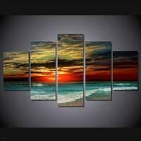 Hdプリント海景サンセットビーチ海海岸絵画5ピースの装飾プリントポスター画像キャンバス