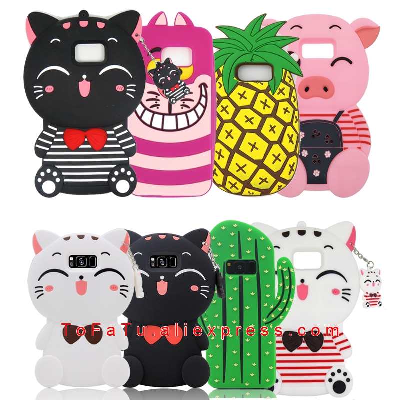 For Samsung Galaxy S7 S8 S9 Case Cat Pig Pineapple Lucky Cat Cactus Silicone Phone Cases Covers
