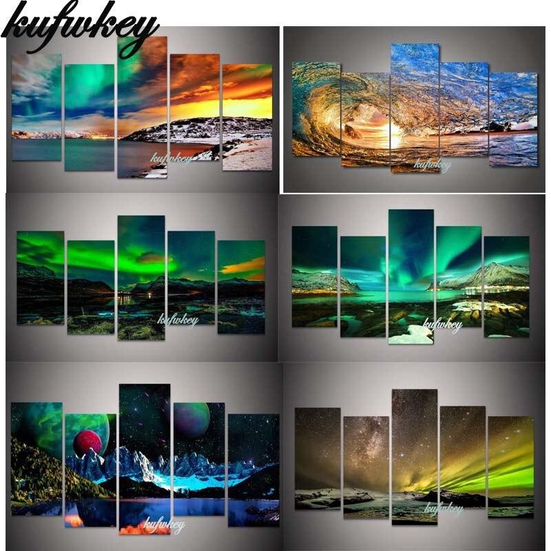 zelená Aurora Boreali diamantová malba 5 ks Multi-picture Full - Umění, řemesla a šití