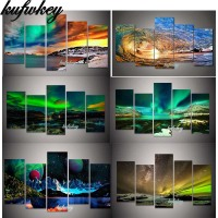 green Aurora Boreali Diamond Painting 5 Pcs Multi picture Full Square Diamond Embroidery Cross Stitch Floral Rhinestone painting