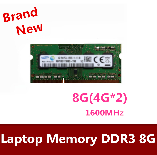Free Shipping   8GB  2*4GB   Laptop SoDimm Memory DDR3 RAM 1600MHz   2*4GB  8GB  DDR3  8GB 2*4GB memory 16gb 2x 8gb ddr3 pc3 10600 1333mhz sodimm 204 pin notebook memory laptop memory ram 1333mhz low density non ecc full tested