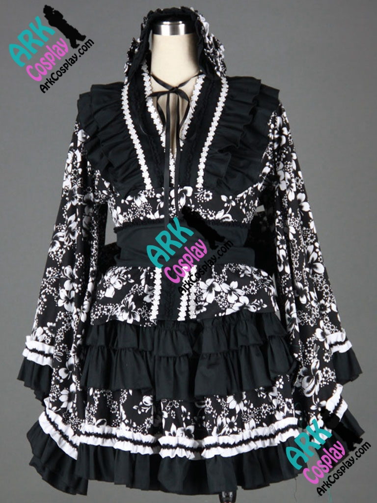 Black and White Gothic Lolita Dress Cosplay Womens Lolita Dress Costume