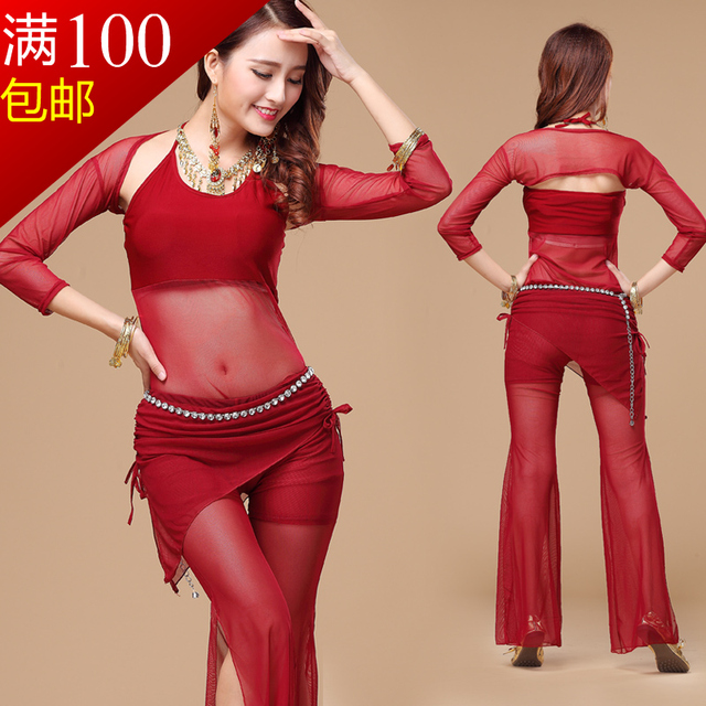 2017 Special Offer Promotion Women Cotton Woman Square Belly Dance Suits Top& Pants Bellydance Costume Professionals S72+k72