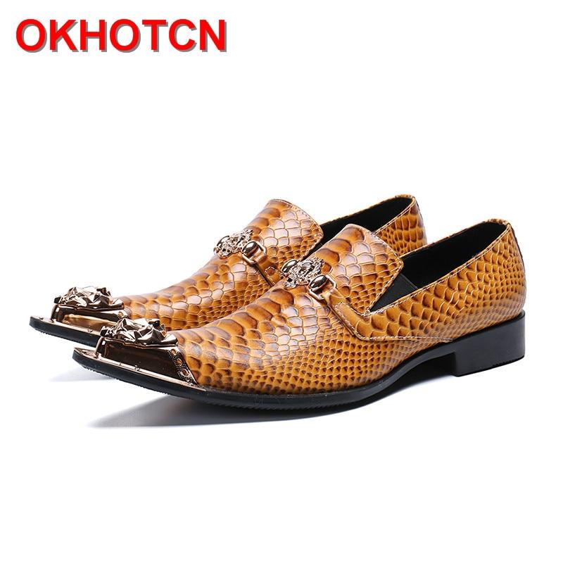 Fashion Mens Brown Leather Shoes Vintage Italian Designer