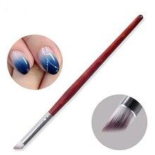 1PC Gradient Color Change Nail Art Dye Drawing Painting Angled Brush Pen Acrylic UV Gel Polish Gradual Blooming Tips Wood Handle