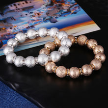 2018 Hot Trendy Crystal Pave CZ Gold Silver Plated Beads Charm Bracelet For Men Women Bracelet Jewelry Pulseira hombres(China)