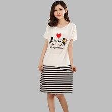 New Lovely Dress Women Sleepwear Casual Nightgowns Ladies Sleepshirts Girl's Night Dress Black and White Nightshirts A62