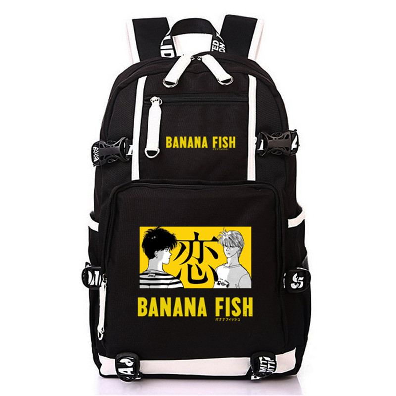 Image 3 - Anime BANANA FISH Canvas Back Pack Cosplay School Bags Anime Laptop Backpack Unisex Travel Backpack Women Shoulder Bags-in Backpacks from Luggage & Bags