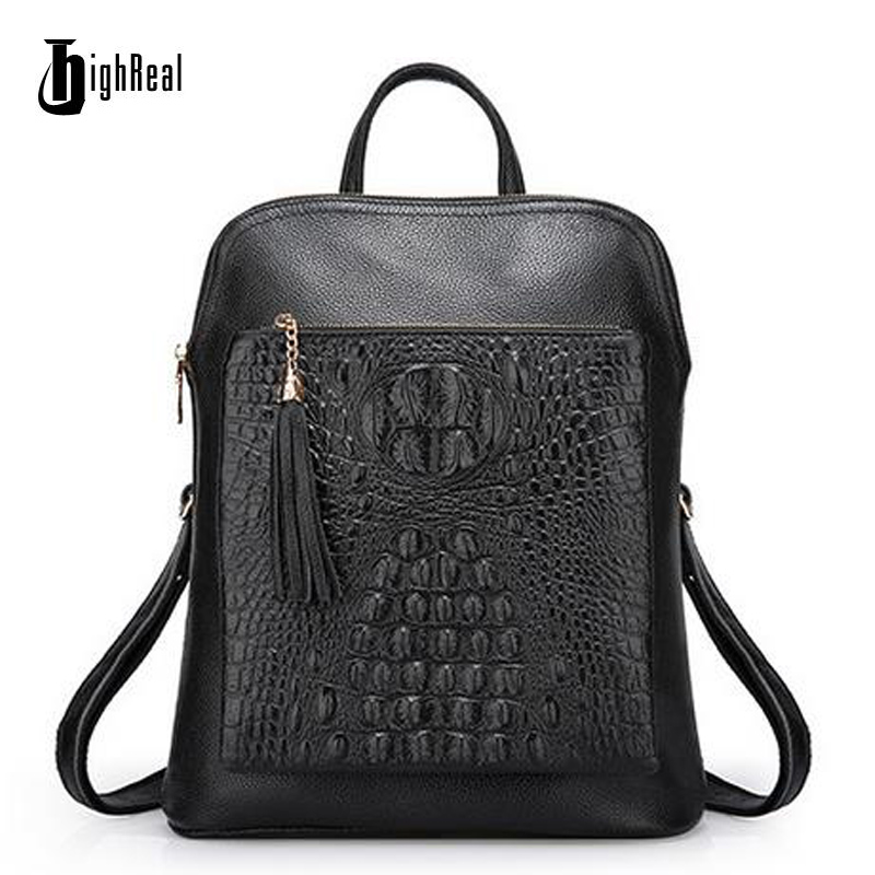 HIGHREAL Backpack Genuine Leather Women s Backpacks Alligator Pattern Ladies Girl s Crocodile Cowhide School Bag