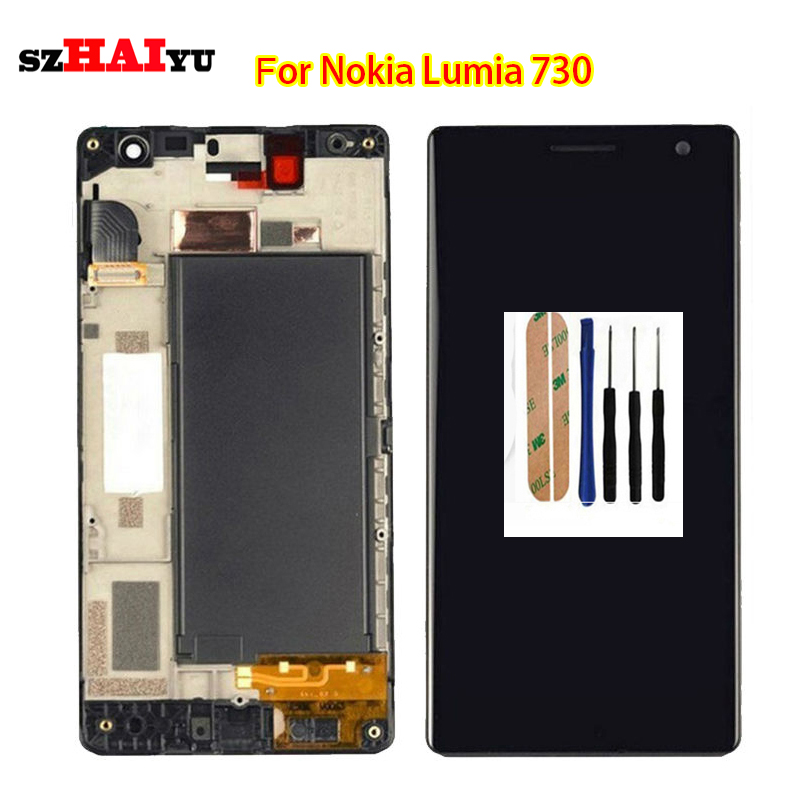 Free Shipping 100% Tested Well LCD for Nokia Lumia 730 735 LCD Display + Touch Screen Digitizer Assembly with Frame +Tools 5 pcs free dhl ems shipping replacement lcd display with touch screen digitizer frame for nokia lumia 730 735 lcd assembly tools