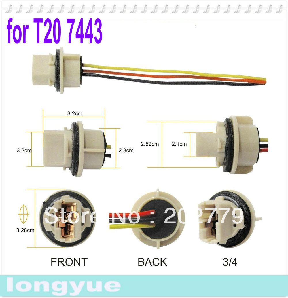 longyue 2pcs T20 7440 light socket Headlight Wiring Harness CONNECTOR ADAPTER BULB WIRE aliexpress com buy longyue 2pcs t20 7440 light socket headlight Wiring Harness Diagram at soozxer.org