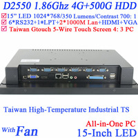 15 inch Touchscreen PC Desktop Computersr with 5 wire Gtouch 4: 3 6COM LPT LED touch 4G RAM 500G HDD Dual 1000Mbps Nics
