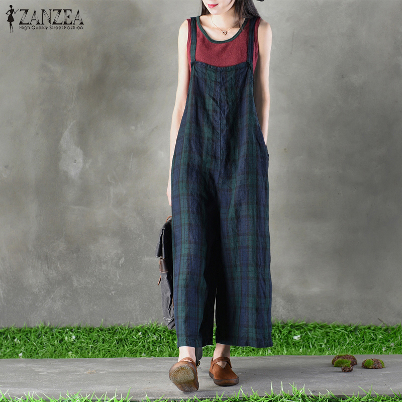 New ZANZEA Women Summer Plaid Check Jumpsuits Casual Strappy Pockets Dungarees Loose Rompers Cotton Linen Bib Overalls Plus Size