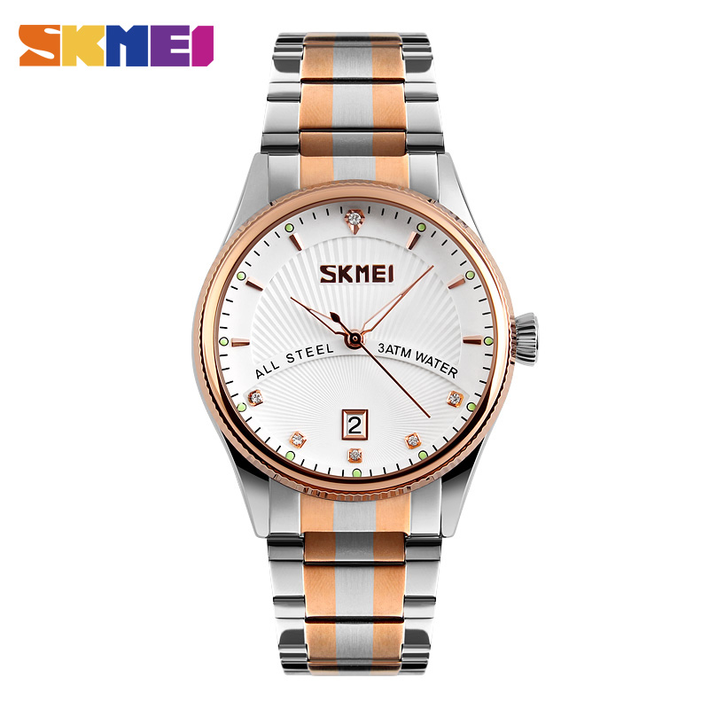 SKMEI 9123 Men Business Quartz Fashion Wristwatches Stainless Steel Strap Relogio Masculino Complete Calendar Waterproof Clock