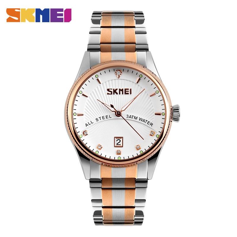 SKMEI 9123 Men Business Quartz Fashion Wristwatches Stainless Steel Strap Relogio Masculino Complete Calendar Waterproof Clock
