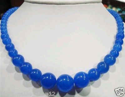 "Nhanh SHIPPING6-14mm Blue Sapphire jewerly Necklace 18 ""(A0325)"