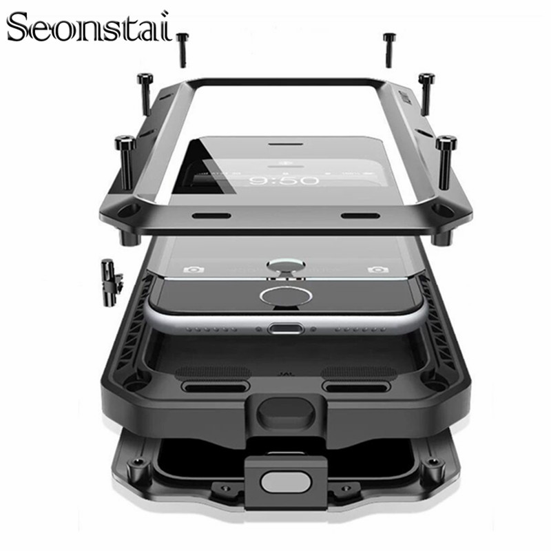 Luxury Doom <font><b>Armor</b></font> Metal Aluminum <font><b>Case</b></font> <font><b>for</b></font> <font><b>iPhone</b></font> XS MAX XR X 6 6S 7 8 Plus 5S SE 5 Heavy Duty Full Body Cover Shockproof Fundas image