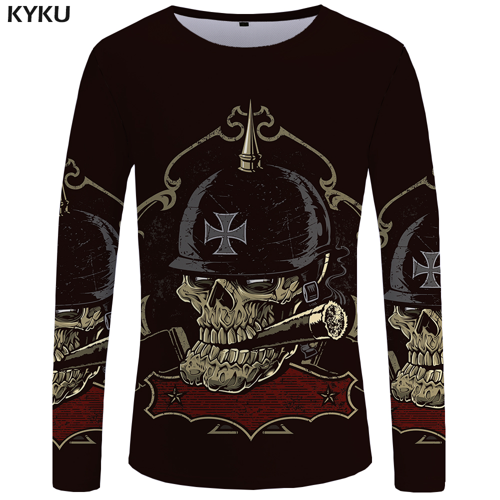 0a62897fda5 Detail Feedback Questions about KYKU Skull Long sleeve T shirt Germany T  shirts Military Clothes Punk Clothing Gothic Tops Tees Tshirt Womens  Printed Top on ...