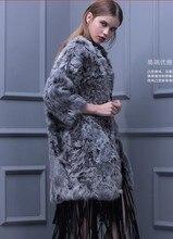 Genuine real natural women wool fur coat fashion Slim and long sections Lamb Fur women v neck jacket ladies outwear waistcoat