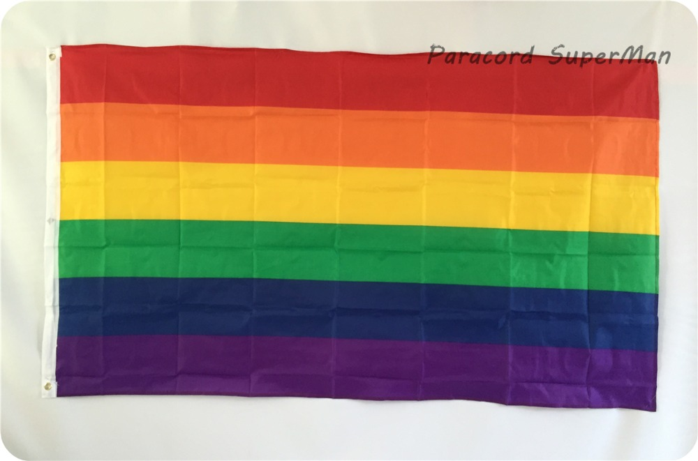 Ծիածանի դրոշի դրոշակ 3ft x 5ft Կախովի պոլիեսթեր գեյ հպարտություն LGBT Գինը Դրոշի դրոշը 150x90 սմ տոնակատարության համար BIG FLAG