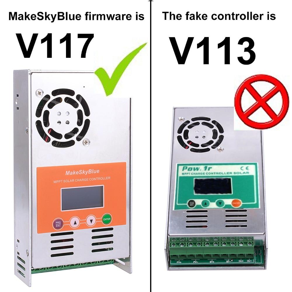 60A regulador controlador de carga Solar MPPT V117 para 12 V 24 V 36 V 48 V DC MakeSkyBlue calidad LCD con el cliente la aplicación de Video