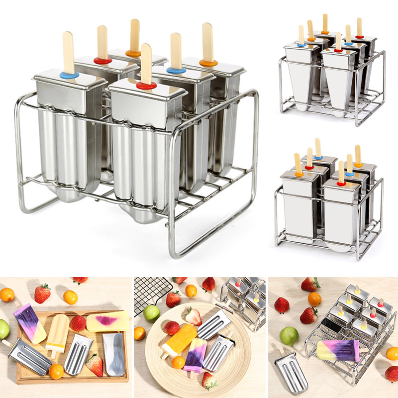 Fashion Stainless Steel DIY Ice Lolly Stick Maker Mold Ice Cream Moulds Reusable Tool @LS