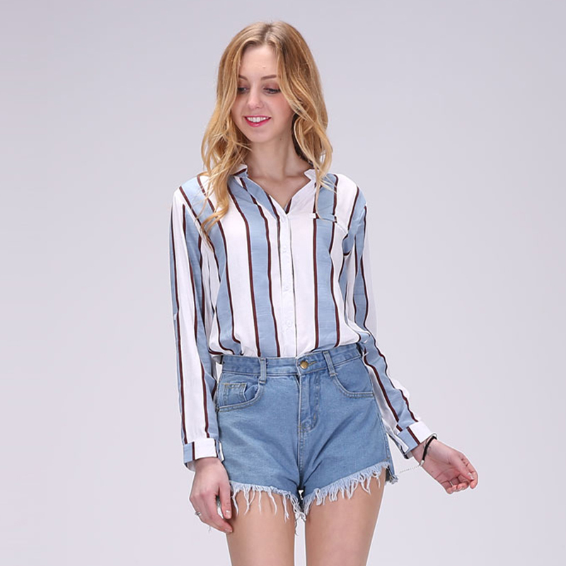 2017 Hot New Women Full Sleeve Blouses Striped Shirts Women Summer Tops Flare Sleeve Blouse Chemise Femme P Size