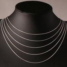 """1""""-24"""" 40-60 см 1 мм 925 штампованное Серебряное ожерелье s итальянское тонкое ожерелье с цепочкой в виде змеи Женская цепочка детские ювелирные изделия для девочек и мужчин"""