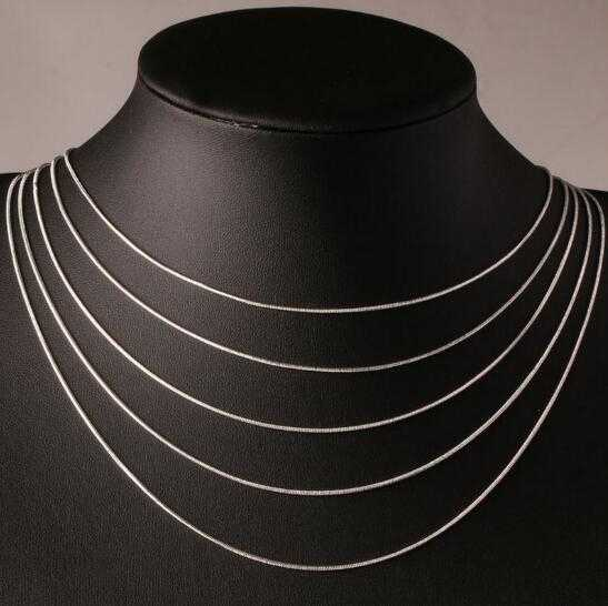"""16 """"-24"""" 40-60 cm 1mm 925 tłoczony srebrny naszyjniki włochy Slim cienki wąż naszyjnik łańcuszkowy damski łańcuszek dla dzieci dziewczyna mężczyzn biżuteria Colier"""