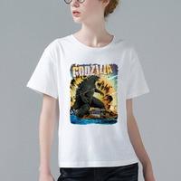 Godzilla Đập Thành Phố Anime T-Shirt Mới Lạ Phụ Nữ Ngắn Tay Dễ Thương Phim Hoạt Hình Tee Shirt Girl Tops Giá Rẻ Người Phụ Nữ Bán Buôn Tees W974