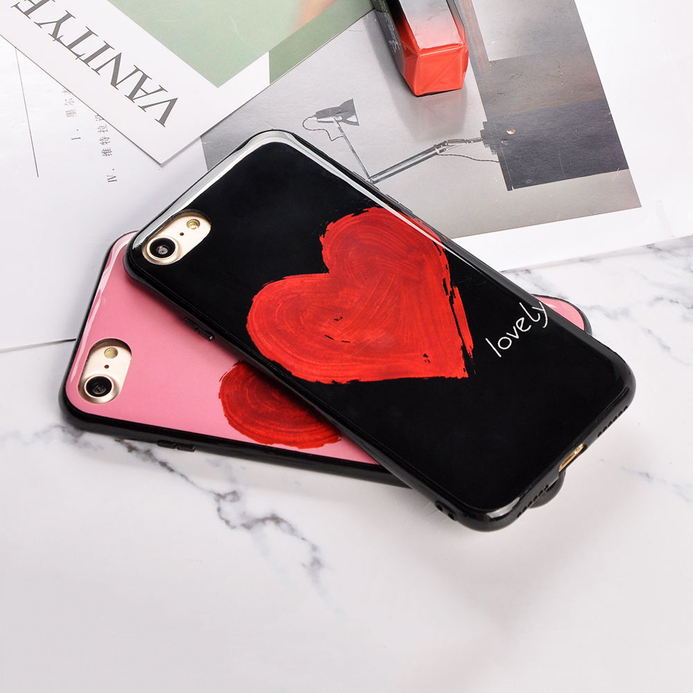 Lovely Glossy Love Hearts Painted Phone Case For iPhone X 6 6S Plus 7 7Plus 8 8Plus Fashion words Couples Soft TPU Back Cover