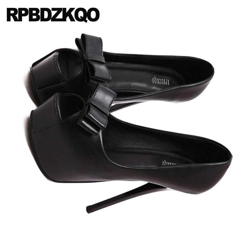 fee267f86 ... Silver Platform Women Shoes Size 4 34 Bow Thin 14cm Catwalk Extreme  Pumps Super 2018 Fetish ...
