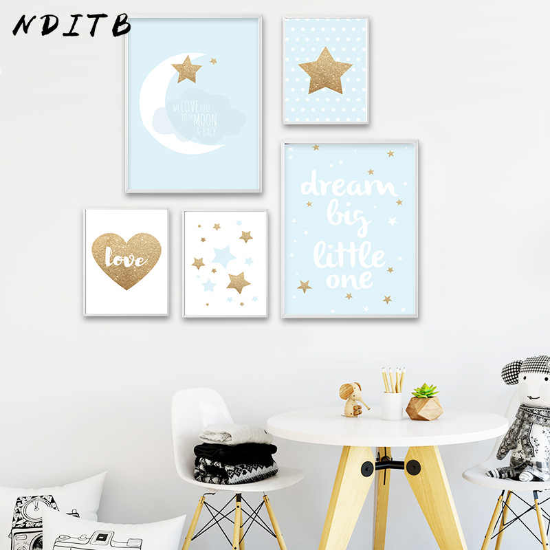 NDITB Dream Big Nursery Quotes Canvas Art Poster Print Nordic Style Minimalist Painting Decorative Picture Baby Bedroom Decor