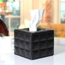 Caja de pañuelos de cuero PU cuadrada moderna europea, almacenamiento de toalla de papel en blanco y negro, servilletero de mesa para decoración del hogar