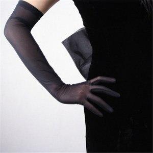 Image 3 - Zwarte Zijde Handschoenen 52 Cm Extra Lange Sectie Hoge Elastische Kant Mesh Garen Zwarte Avond Vestido De Noche Bruid Trouwen touch WWS04