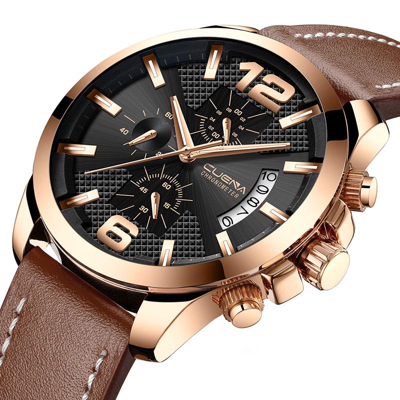 купить 3ATM Chronograph Watch Men Sport Quartz Fashion Leather Clock Mens Watches Top Brand Luxury Waterproof Watch Relogio Masculino по цене 1120.26 рублей