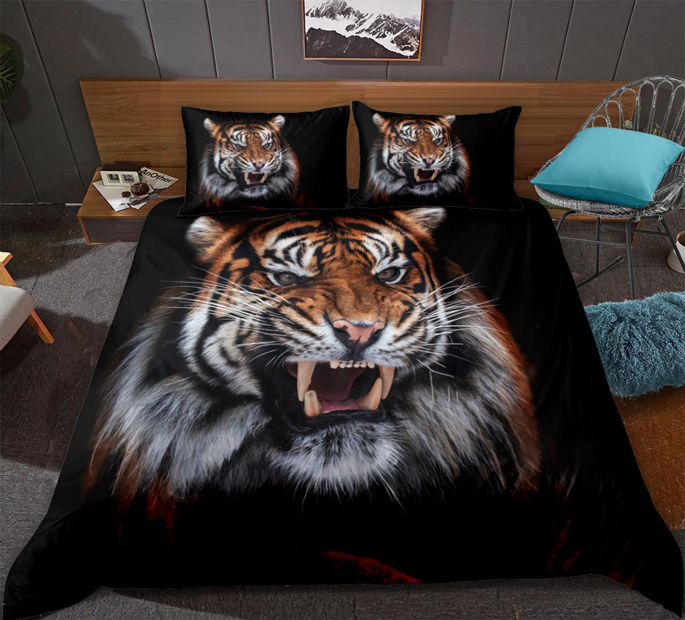 3D Tiger Bedding Set  Animals Duvet Cover Set  Black Series  Home Textiles 3-Piece Animal Printed Bedclothes King Queen Size