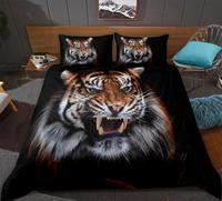 3D Tiger Bedding Set Animals Duvet Cover Set Black series Home Textiles 3 Piece Animal Printed Bedclothes King Queen size