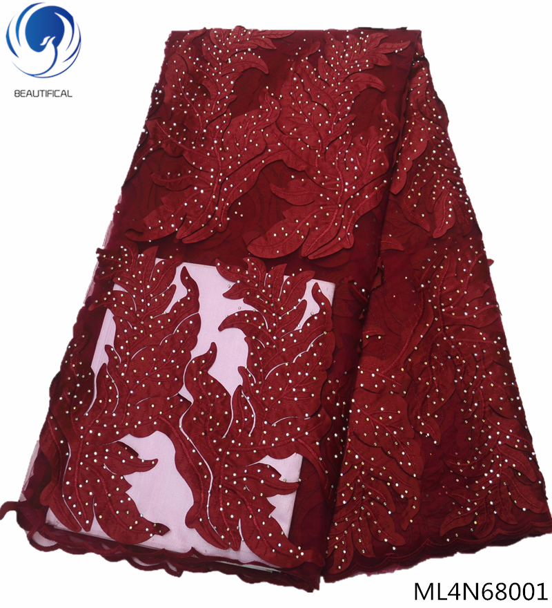 Beautifical french lace fabrics 2019 high quality lace fabric with lot stones tulle laces Embroidered fabric 5yards/lot ML4N680Beautifical french lace fabrics 2019 high quality lace fabric with lot stones tulle laces Embroidered fabric 5yards/lot ML4N680