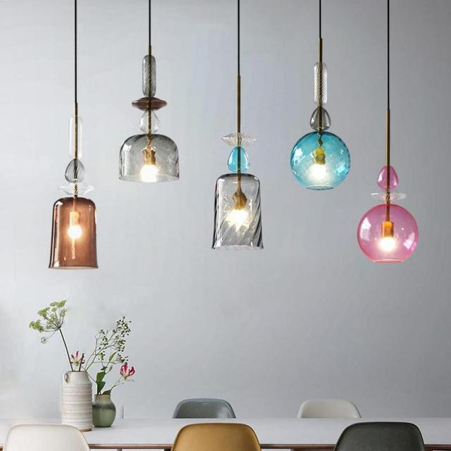 Regron Nordic Pendant Lights  Novelty Colorful Glass Led E27 Hanging Lamp British Style Luminary For Dining Room Bar Bedroom