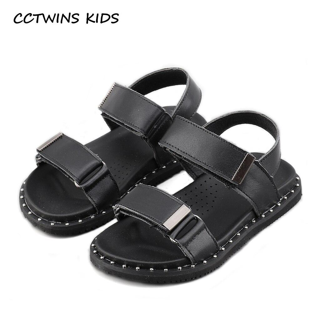 Black sandals baby girl - Cctwins Kids 2017 Summer Children Fashion Strap Sandals Baby Boy Genuine Leather Hollow Shoe Kid Girl Brand Black Flat B1136