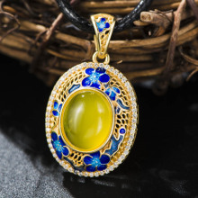 Luxury Genuine Yellow Agate Blue Flower Solid 925 Sterling Silver Enamel Charm