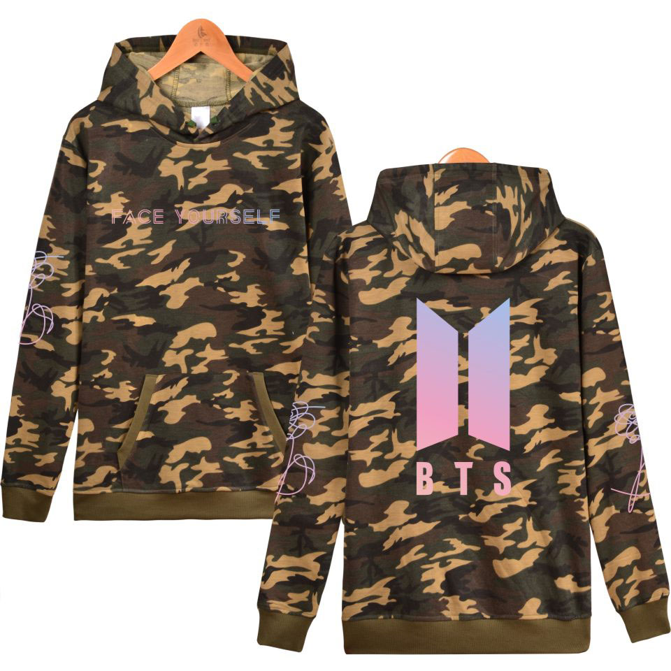BTS Bangtan Boys Kpop Face Yourself Female Fans Camouflage Capless Sweatshirt Khaki Fashion Women Hoodie 4XL