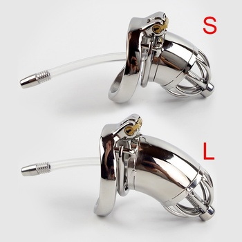 304 Stainless Steel Chastity Device With Urethral Sounds Catheter And Spike Ring S/L Size Cock Cage Choose Male Chastity Belt