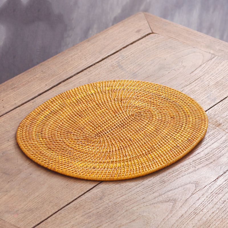 Natural Healthy Rattan Weave Round Coasters Placemat insulation pad Handmade