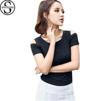 Camisetas Mujer Verano T Shirt Femme 2017 Summer Tops Off The Shoulder Tops For Women Tshirt